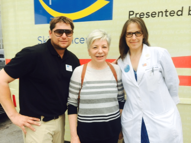 Dr. Krant providing free skin cancer screenings on The Road to Healthy Skin tour with the Skin Cancer Foundation and executive director Mary Stine